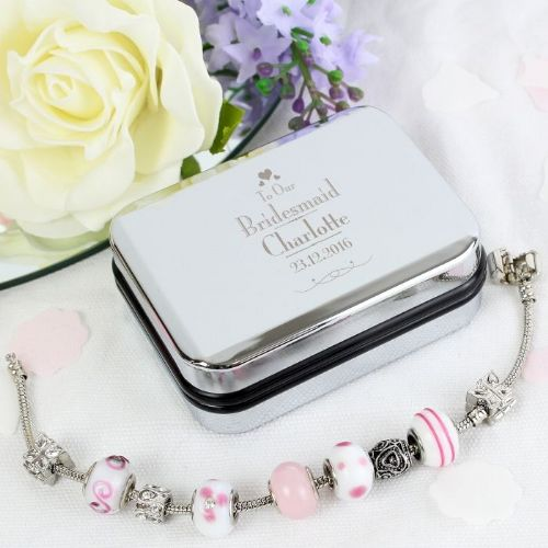 Decorative Wedding Bridesmaid Silver Box and Candy Pink 18cm Charm Bracelet